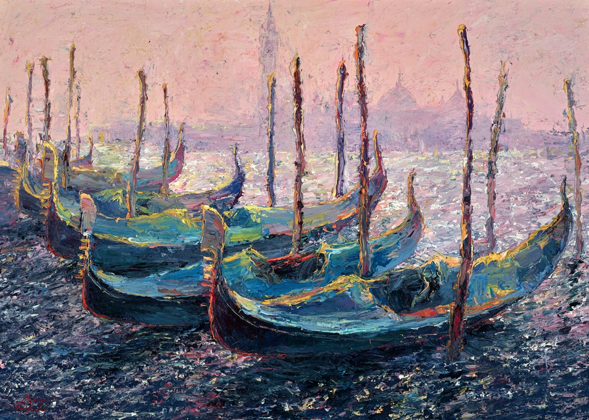 Morning Light, Gondolas by lana okiro -  sized 28x20 inches. Available from Whitewall Galleries